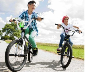 Mandatory Credit: Photo by F1 Online / Rex Features (1907564a) MODEL RELEASED Two kids on bikes VARIOUS